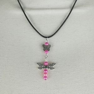 Jewelry - Butterfly and dragonfly necklace with pink beads